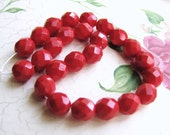 Red Faceted Czech Glass Bright Red 8mm Beads(str) b1709