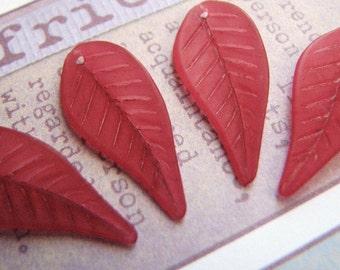 Vivacious Red Plum Lucite Walnut Leaves (6leaves) b1047