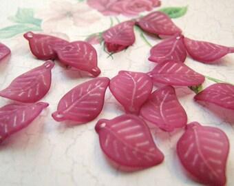 Deep Red Violet Balsam Poplar Leaf Beads(30) b1146