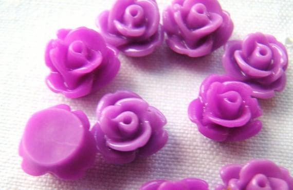Shades of Magenta Rose Cabochons(10) b1154