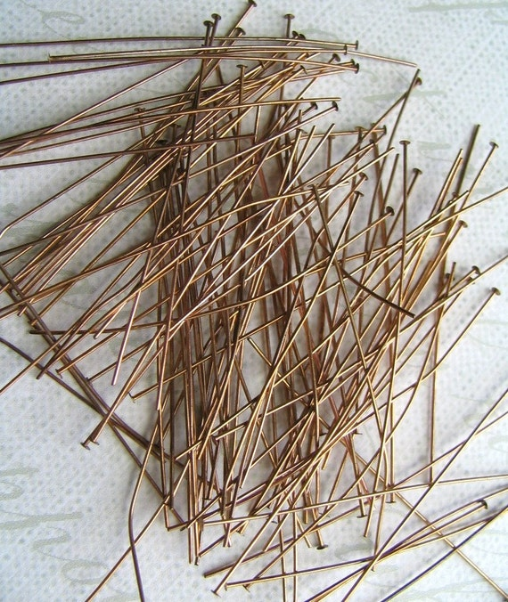 Fifty Vintage Brass Head Pins