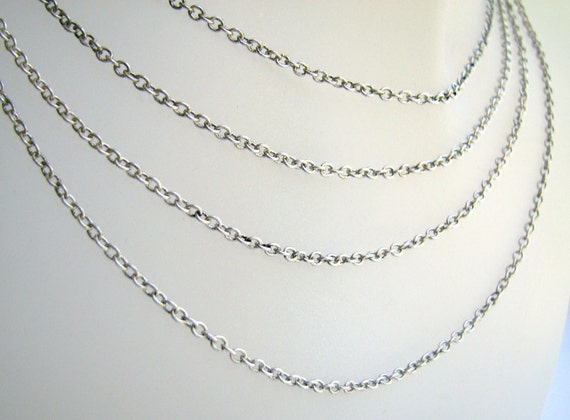 Antiqued Silver Chain Plated  Fine Link Cable(5ft) b1627