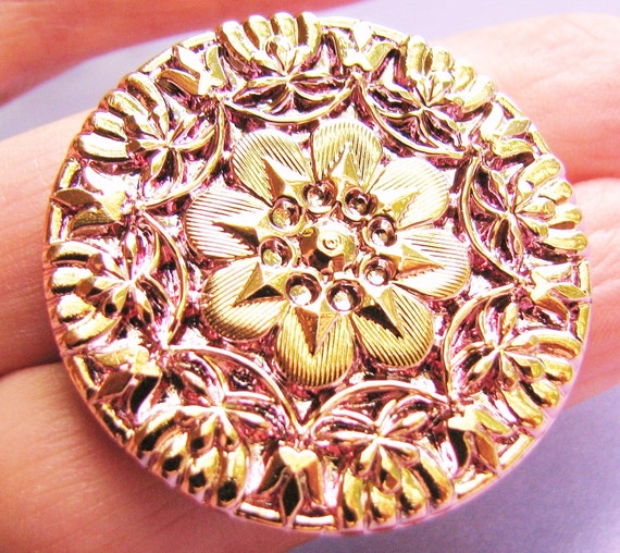 Intricate Gold Washed Rose Czech Glass Button(1) b1571
