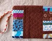 Indigo and Brown wristlet