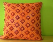 Orange and Raspberry Diamond Dots Pillow Cover