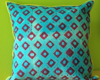 Turqouise and Purple Diamond Dots Pillow Cover