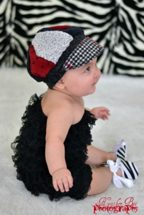 Black and red  Child Hat  with fabric flower Jax Hat