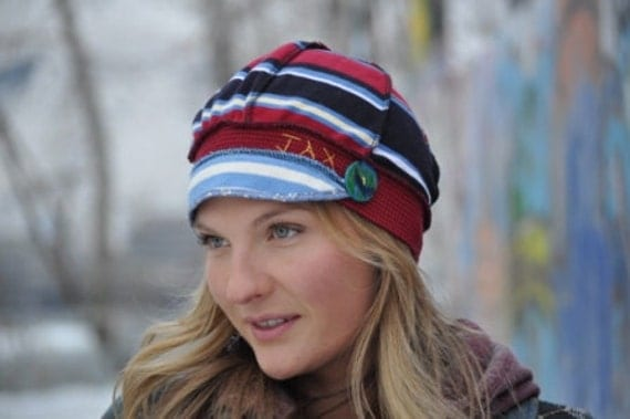 Jax Hats saving the world from ugly sweaters recycled cotton t shirt hat in navy, red and yellow stripes