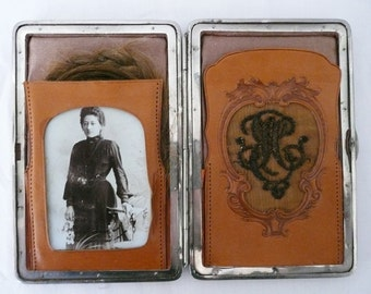 Holiday SALE - Antique Victorian Wallet With Embroidery Monogram Hair and Photo of Woman Who Owned It - Postmortem