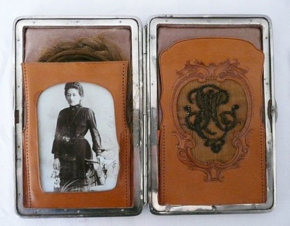 Antique Victorian Wallet With Embroidery Monogram Hair and Photo of Woman Who Owned It - Postmortem