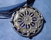 Round Stained Glass and Filigree Pendant (SGV-P3)