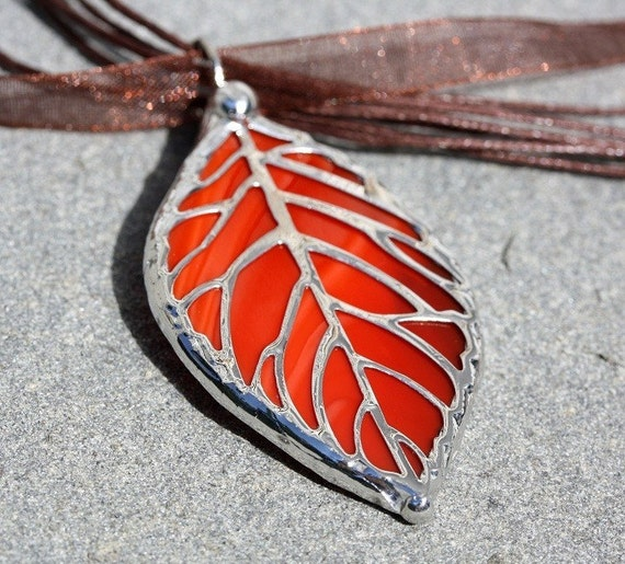 Stained Glass Leaf Filigree Pendant  (SGL-P2)