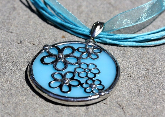 Round Stained Glass and Filigree Pendant