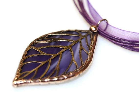 Stained Glass Leaf Filigree Pendant (SGL-P7)