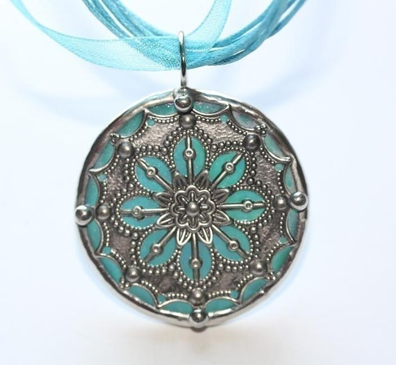 Round Stained Glass and Filigree Pendant (SGV-P8)  (RESERVED for RENEE)