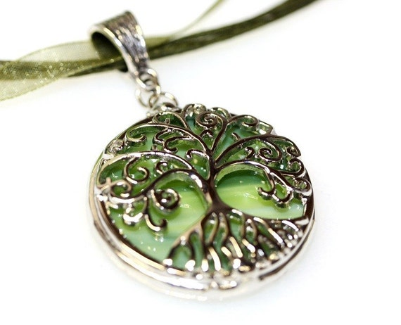 Round Stained Glass and Filigree Pendant - Tree of LIfe (SGT-P5)