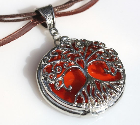 Round Stained Glass and Filigree Pendant - Tree of LIfe (SGT-P2)