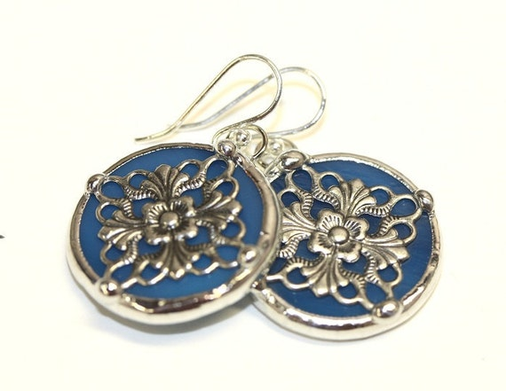 Round Stained Glass and Filigree Earrings (SG-E15)