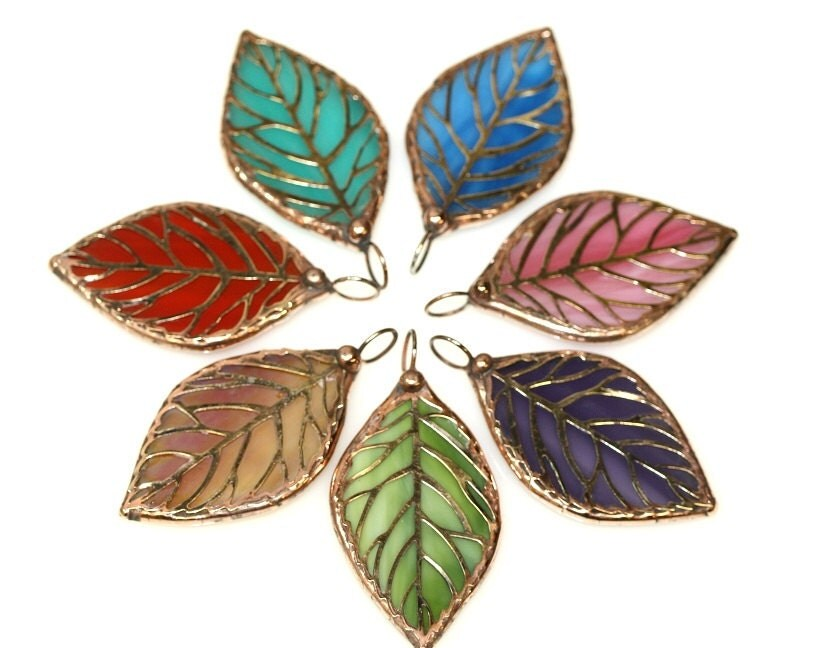 Leaded Copper Sheets : Stained glass leaf pendant sgl p by colorshoppestudio on etsy