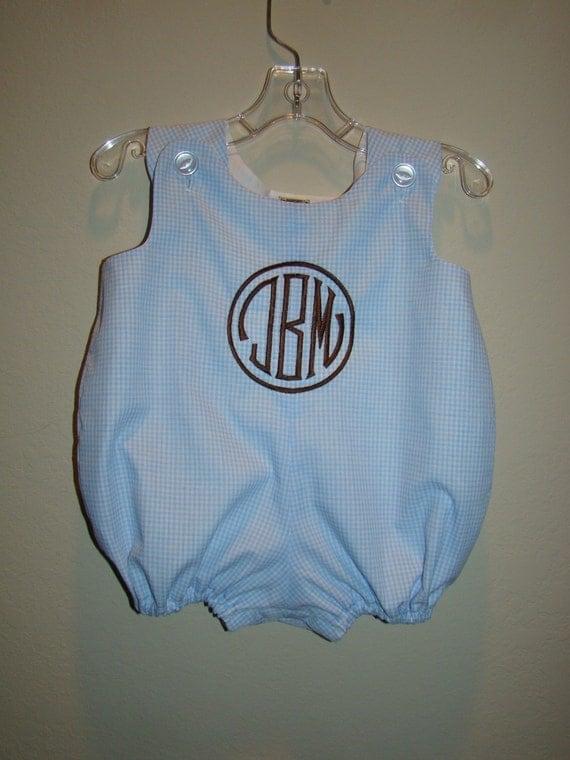 Monogrammed Baby Boy Bubble Suit Newborn thru 24 months YOU