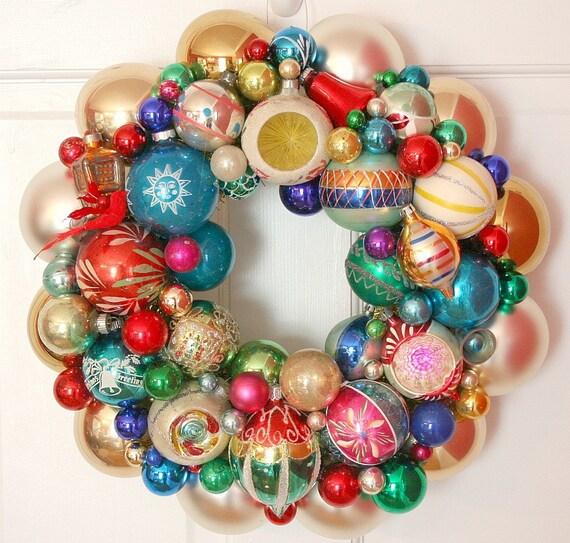 Retro Christmas Decorations Ideas: Vintage Ornaments Wreath Shiny Brite Fabulous