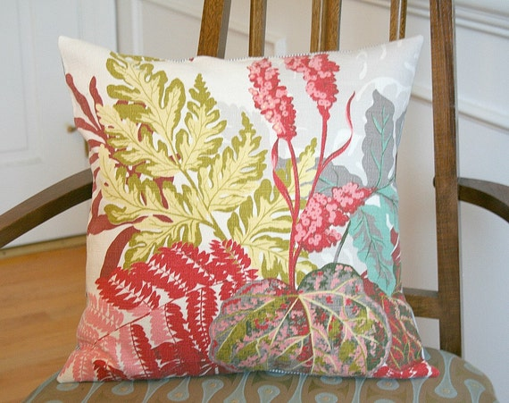 Vintage Mid Century Foliage Barkcloth Cotton Pillow Cover FREE Shipping