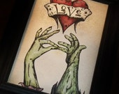 """Valentine's Day  Romantic Zombie  Print  """"The Kiss"""" Love  5x7 Art Print by Agorables Undead"""