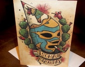 Blank Birthday Card Lucha Libre Mexican Traditional Tattoo Style Art 5x7 By Agorables Old School Wrestler in Mask