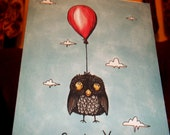 Owl Card Cute Get Well Soon Owl Balloon  5x7 Greeting Card Blank inside by Agorables Feeling Sick
