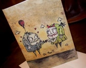 """Anniversary Romantic Monster Card """"Be Mine"""" Love  5x7 Art by Agorables Undead Zombie Valentine's Day"""