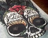 """Skull """"Love You"""" Rose Art Print 5x7 By Agorables Lord of the Undead Ruler of Romantic Monsters"""