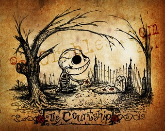 The Courtship of a Cute little Skeleton to a Gravestone Art Print 8x10 By Agorables Lord of the Undead Ruler of Monsters