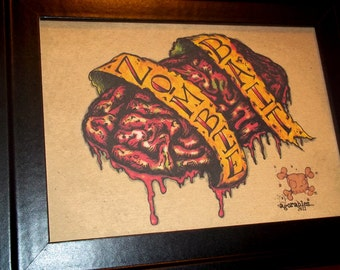 Zombie Bait Bloody Tattoo Style Brain Art Print 5x7 By Agorables Love the Cute Stuff