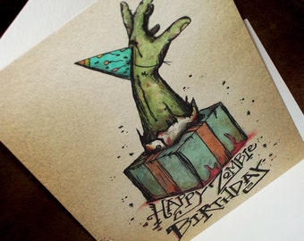 Zombie Party Hat Card Happy Birthday bursting from the Gift  5x7 Greeting Card Blank inside by Agorables Rulers of the Undead