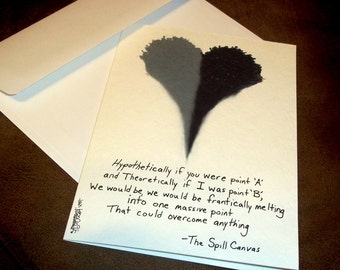 Romantic Card Melting Heart  Love  5x7 Black & White Greeting Card Blank inside by Agorables Undead The Spill Canvas TSC