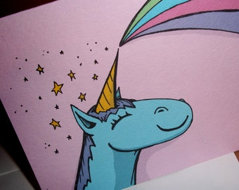 """Unicorn """"Break-Up Card"""" Anti Love Card Not So Romantic  5x7 Greeting Card by Agorables Undead"""