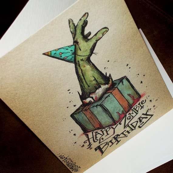 Items Similar To Zombie Party Hat Card Happy Birthday Bursting From The Gift 5x7 Greeting Card