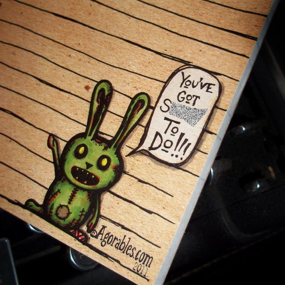 "Mature Zombie Bunnie Sh""t To Do List 50 sheet Memo Note Pad Bunny from Agorables the Undead fifty page notepad Bunny"