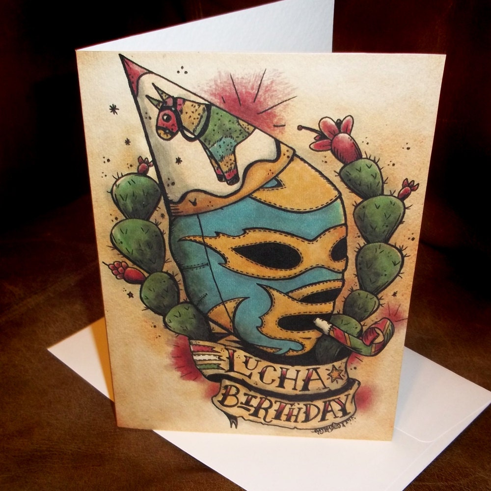 blank birthday card lucha libre mexican traditional tattoo, Birthday card