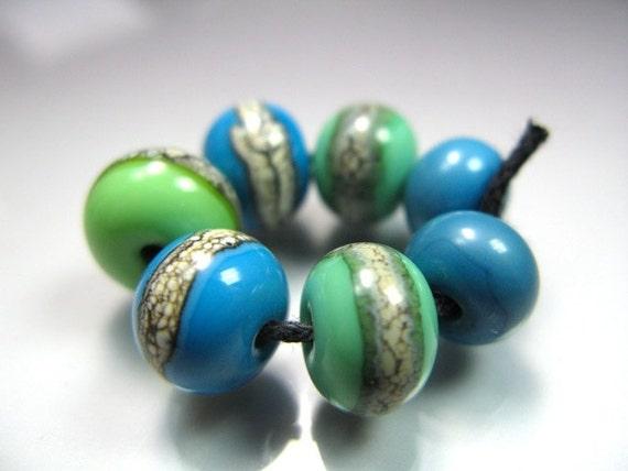 Handmade Lampwork Beads by GlassBeadArt   ...  Silvered  Mix 13 ... SRA F12  ... 9x11mm