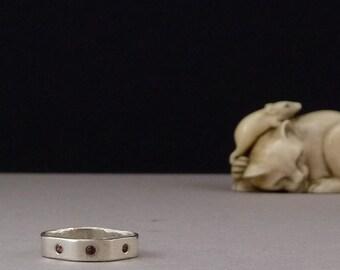 Garnet Ring, Square Silver Ring, Flush Set Gemstone Ring