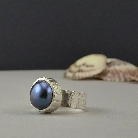 Pearl Jewelry Grey Black Pearl Silver Ring