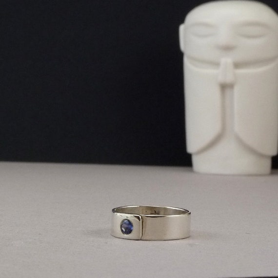 Blue Sapphire Ring  HandCrafted Ring Artisan Ring  The Earth Rests on a Sapphire.