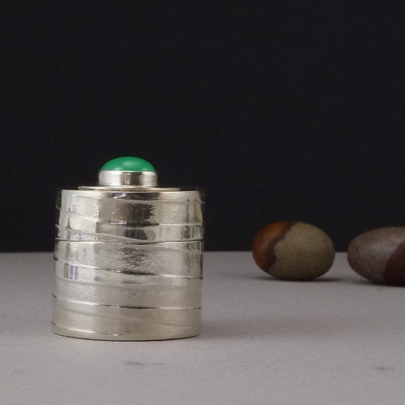 Silver Box Reliquary Handmade Chrysoprase Metalwork Trinket Box
