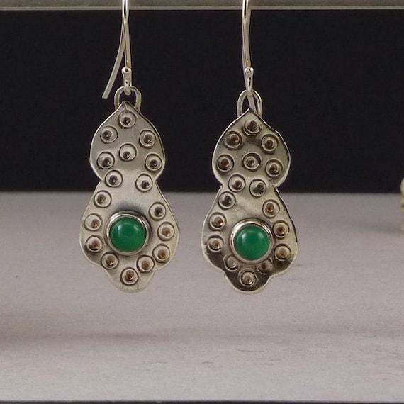 Chrysoprase earrings, green gemstone, silver drop earrings, hand stamped silver