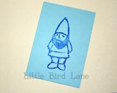Hand Carved Rubber Gnome Stamp Large 2.5 Inches Tall OOAK
