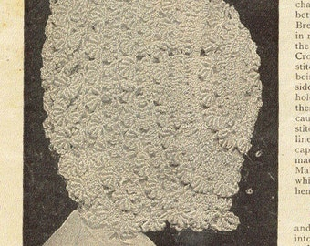 Antique Silk Baby Hat Bonnet Cap Crochet Pattern PDF
