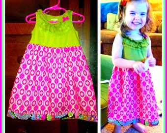 Instant Download PDF Sewing Pattern Tutorial DIY Sweet Tee Dress T-shirt or Tank Dress 12 Mo. To 6