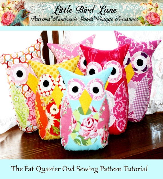 The Fat Quarter Owl PDF Sewing Pattern DIY Tutorial Little Bird Lane EASY and Safe peek a Who crazyadsteam