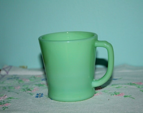 1940s Anchor Hocking Jadeite Green Fire King Ware Coffee Mug